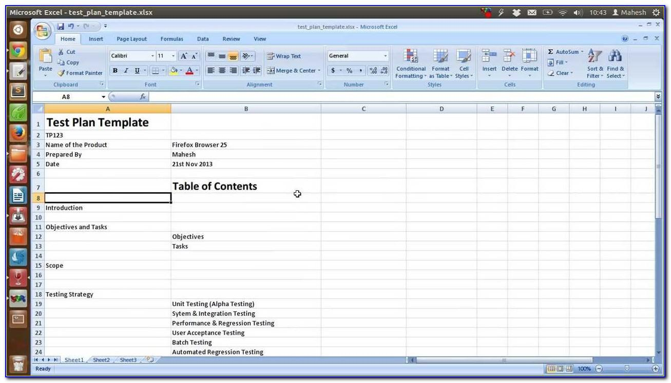 Software Test Plan Template Excel Free Download