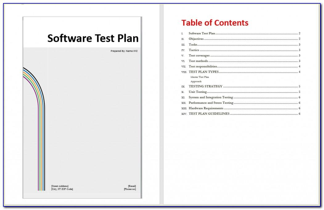 Software Test Plan Template Xls
