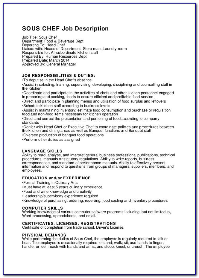 Sous Chef Job Description Resume