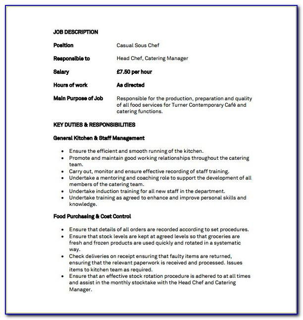 Sous Chef Job Descriptions Samples