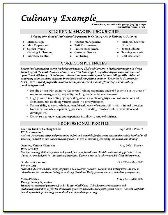 Sous Chef Resume Objective Examples