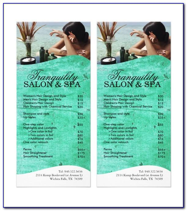 Spa Menu Templates Free Design