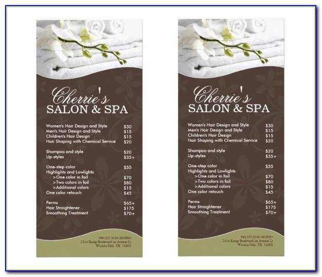 Spa Menu Templates Free Download
