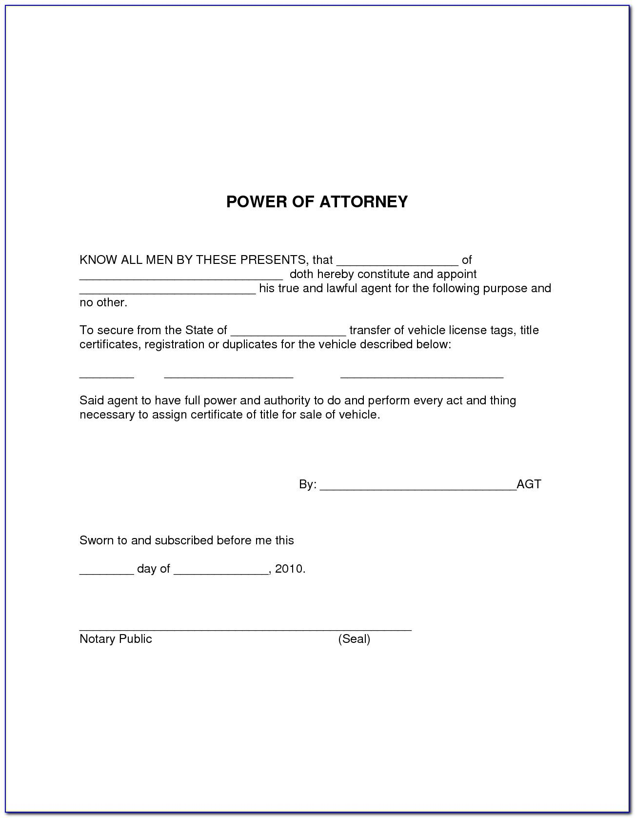 Special Power Of Attorney Form Free