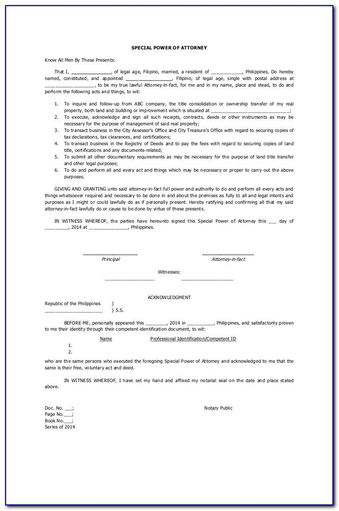 Special Power Of Attorney Format For Authorization In India
