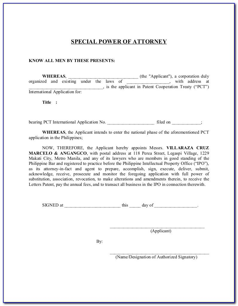 Special Power Of Attorney Format For Authorization Philippines