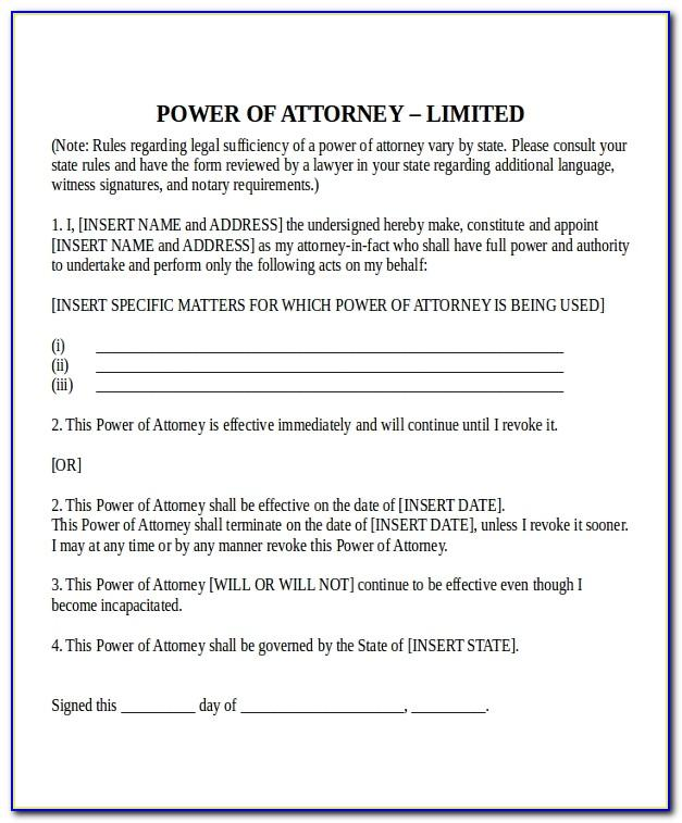 Special Power Of Attorney Free Legal Forms