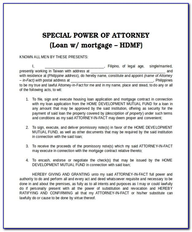 Special Power Of Attorney Templates