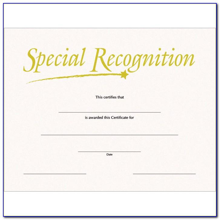 Special Recognition Certificates Templates