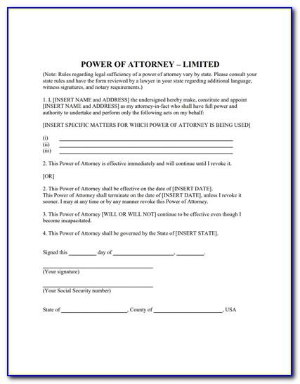 Specific Power Of Attorney Form
