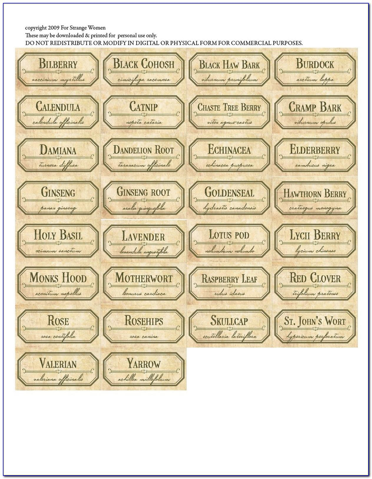 Spice Jar Label Template