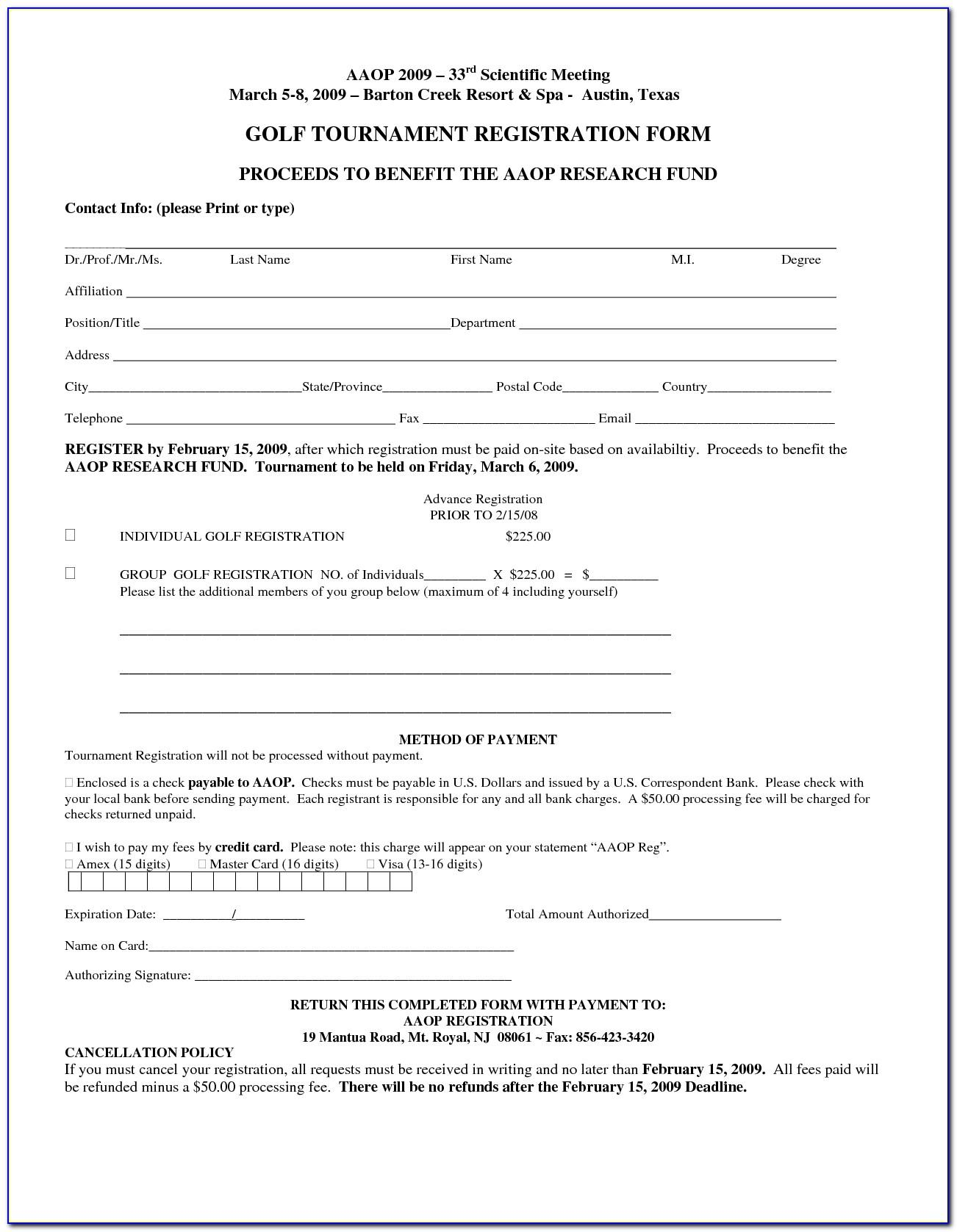 Sponsor Registration Form Template