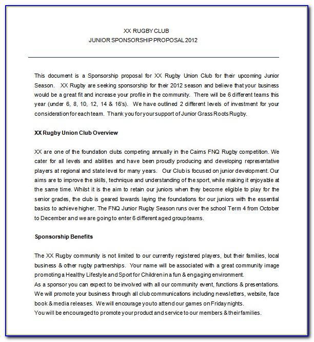 Sponsorship Proposal Template Australia