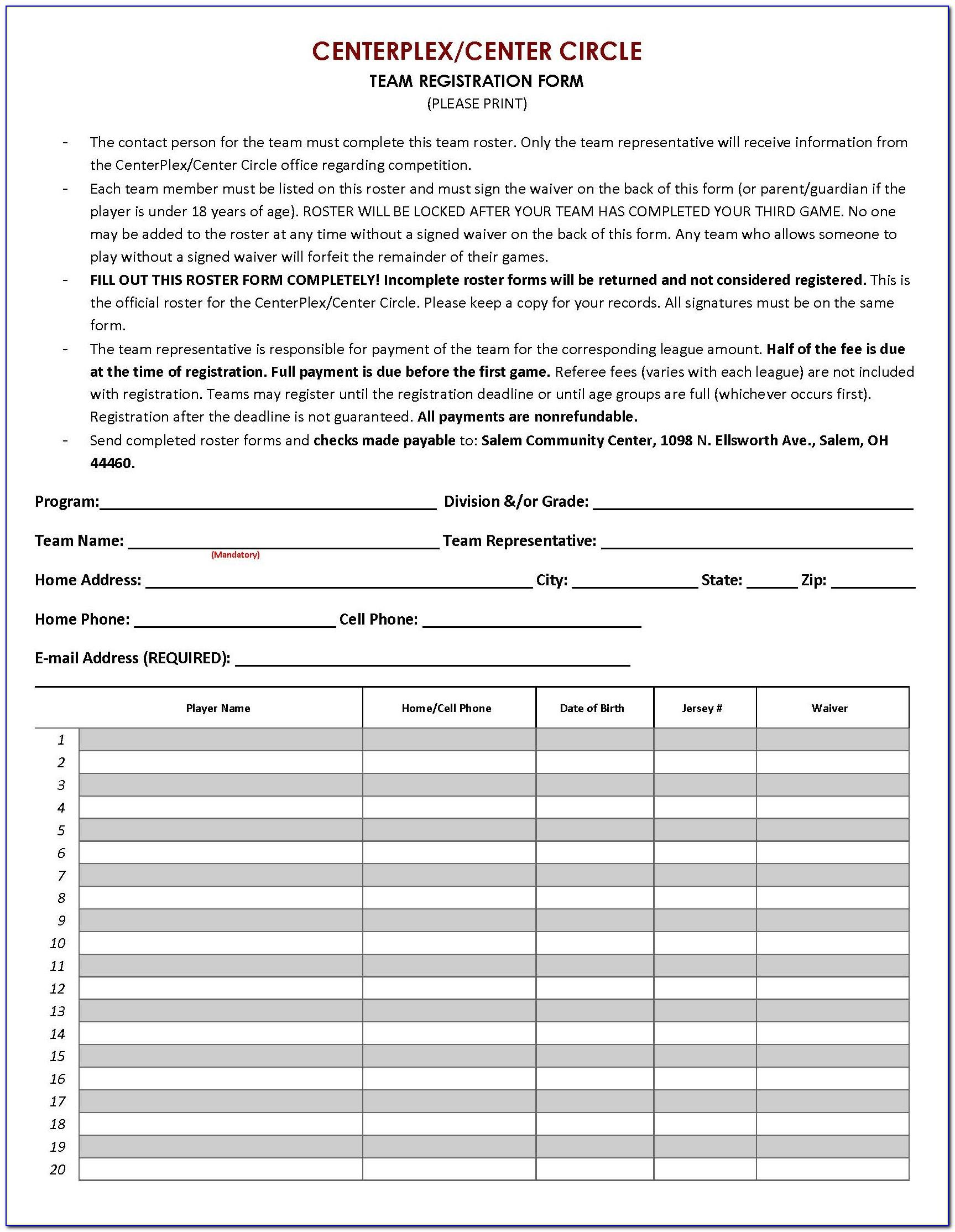 Sport Registration Form Template Free