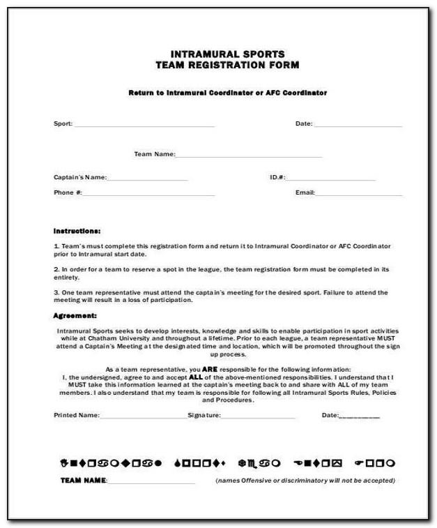 Sport Team Registration Form Template