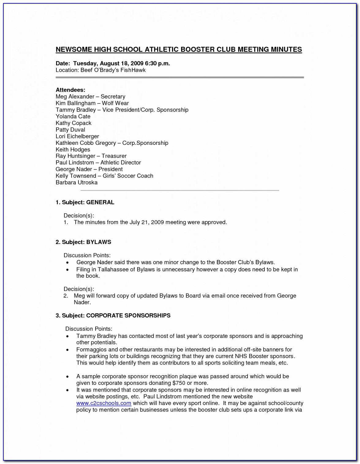 Sports Club Contract Template