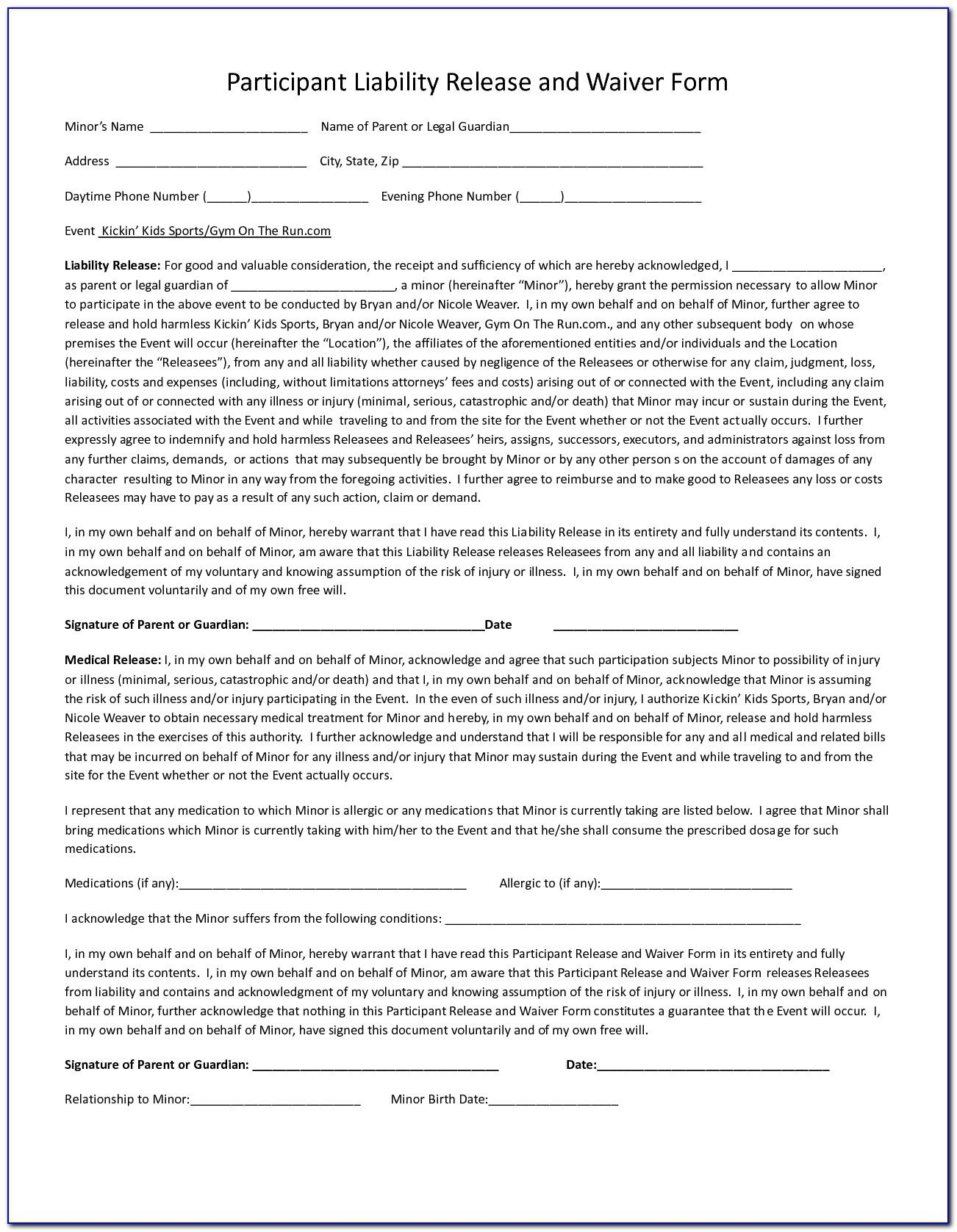 Sports Liability Waiver Form Pdf