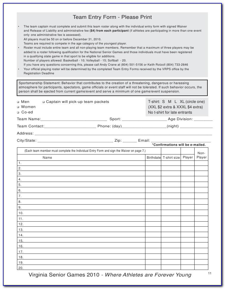 Sports Liability Waiver Sample