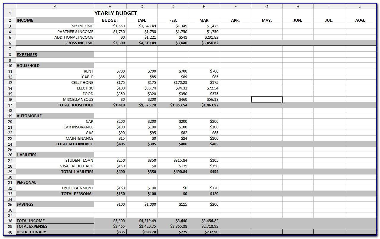 Spreadsheet Template For Budgeting