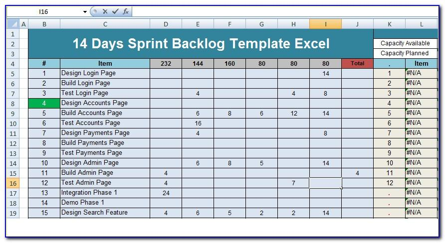 Sprint Backlog Excel Template