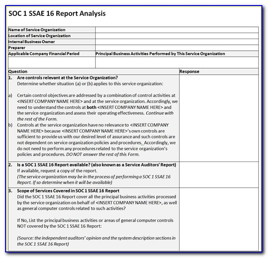 Ssae 16 Soc 1 Template