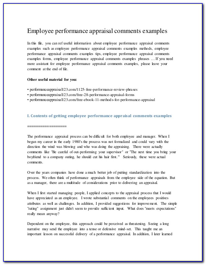 Staff Appraisal Comments Examples