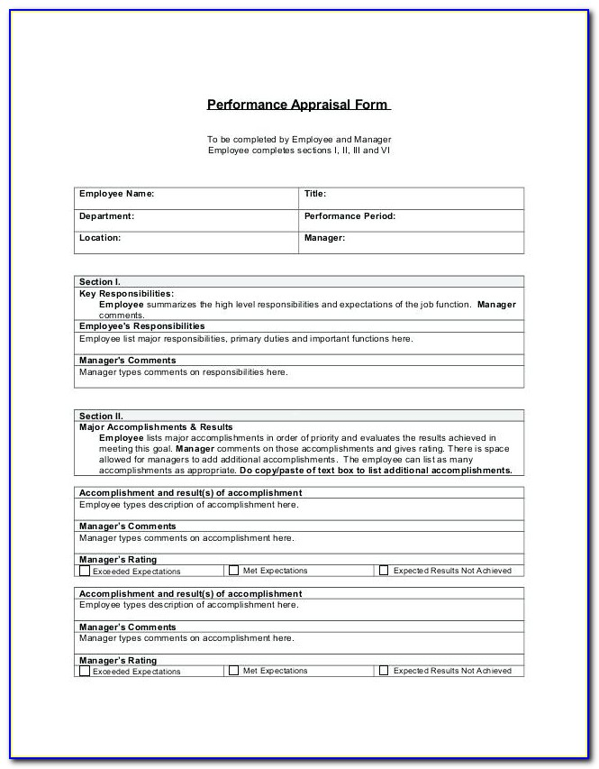 Staff Evaluation Template Childcare