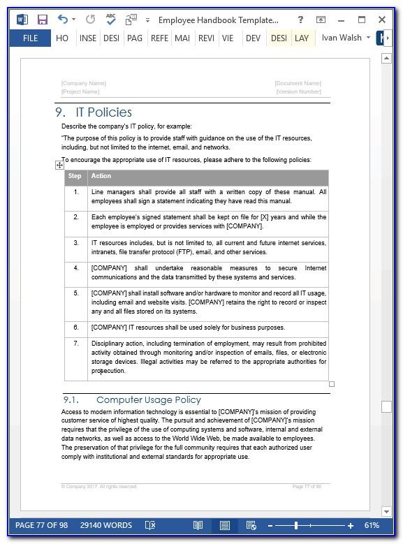 Staff Handbook Template Hk