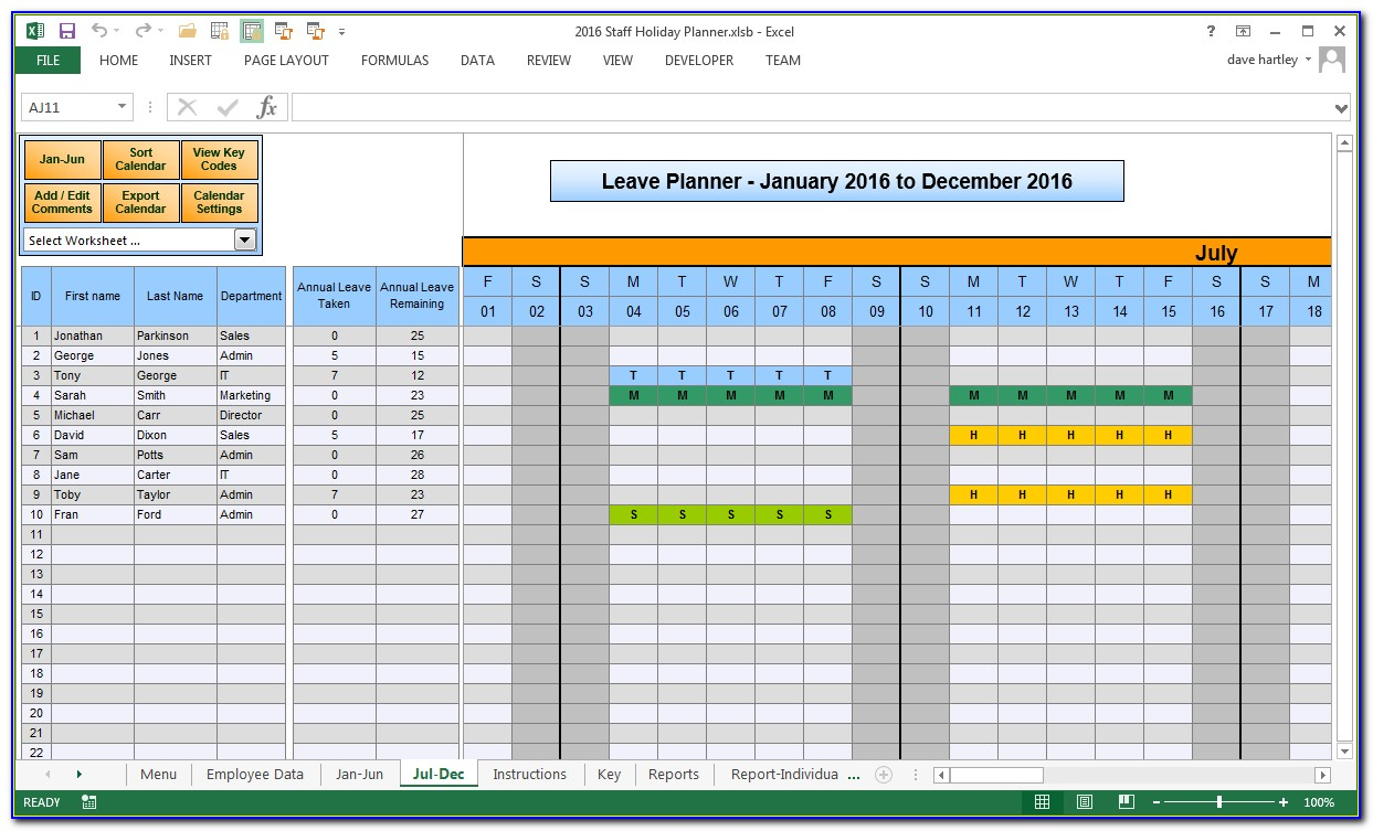 Staff Holiday Planner 2018 Excel Template