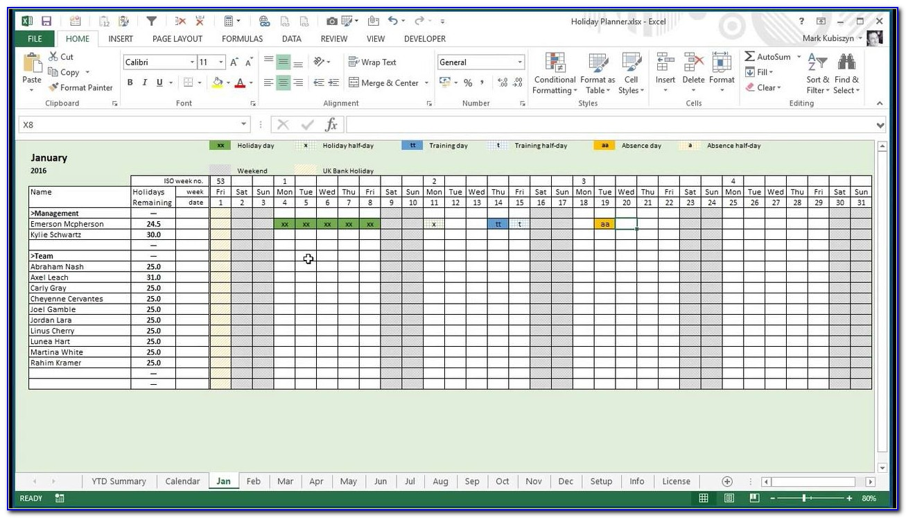 Staff Holiday Planner 2019 Excel Template
