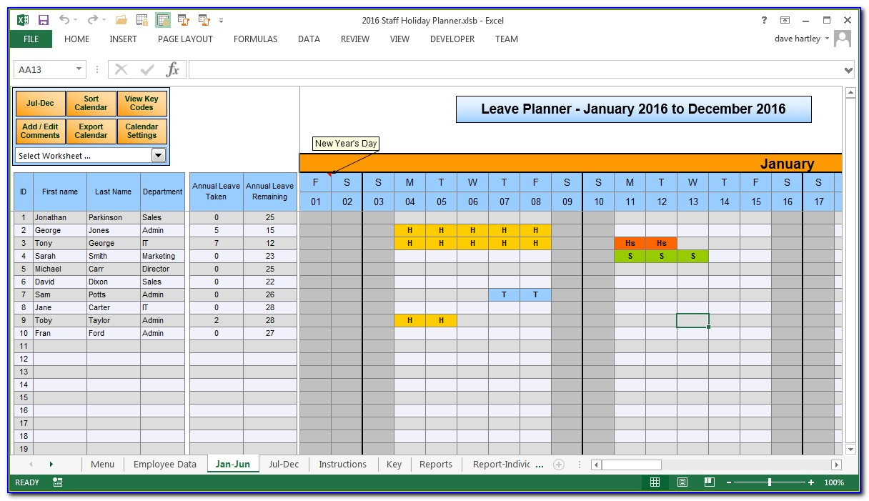Staff Holiday Planner Template 2015