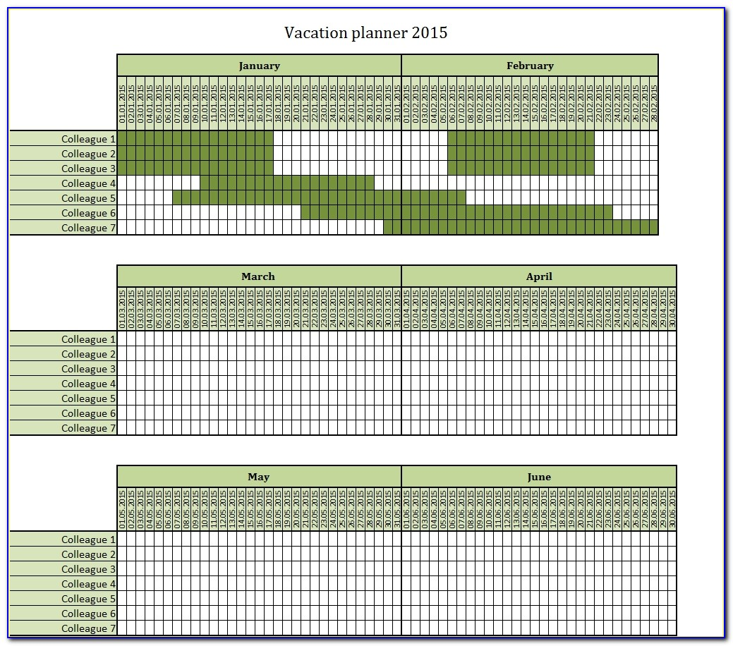 Staff Holiday Planner Template 2018