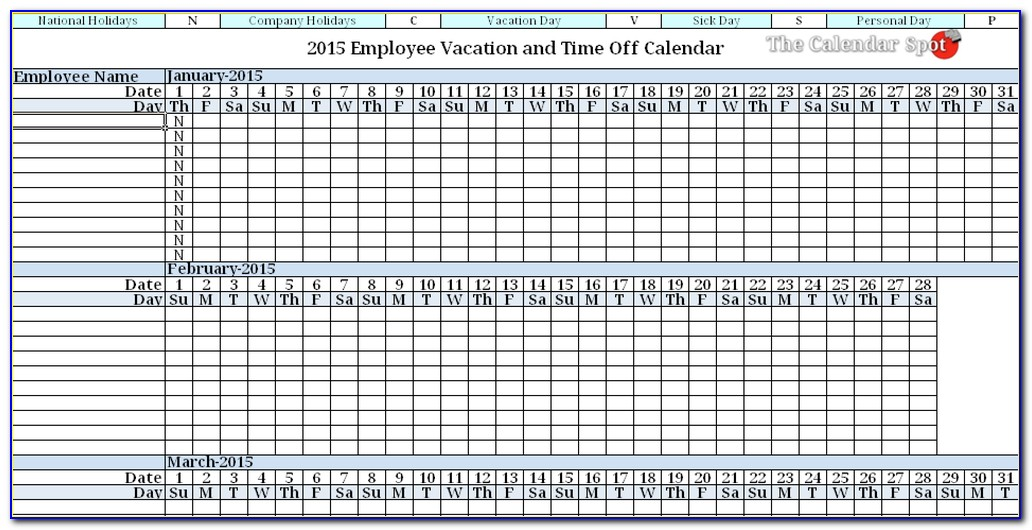 Staff Holiday Year Planner Template