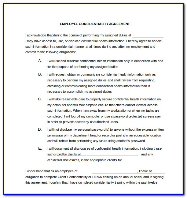 Staff Non Disclosure Agreement Template