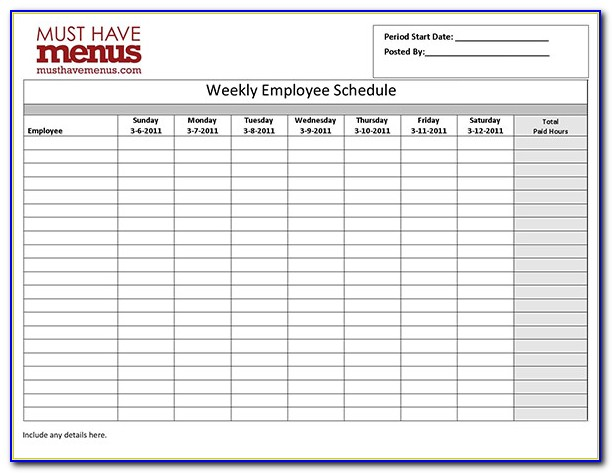 Staff Schedule Template Weeklystaff Schedule Template Weekly