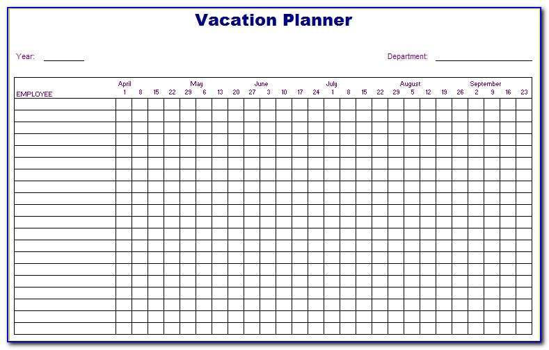 Staff Vacation Planner Template 2017