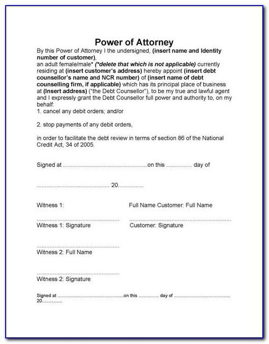 Standard Bank General Power Of Attorney Form