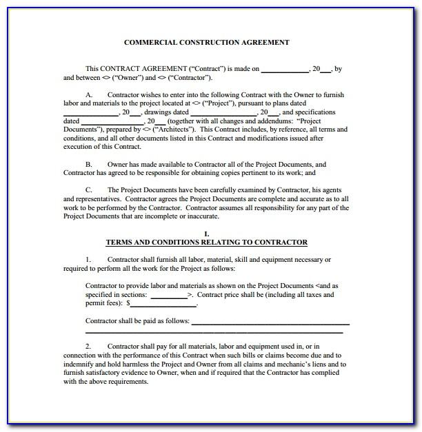 Standard Building Contract Agreement