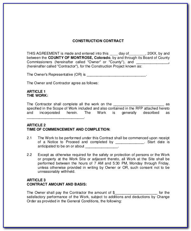 Standard Building Contract Template Uk