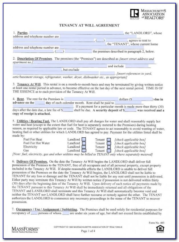 Standard Form Apartment Lease Massachusetts