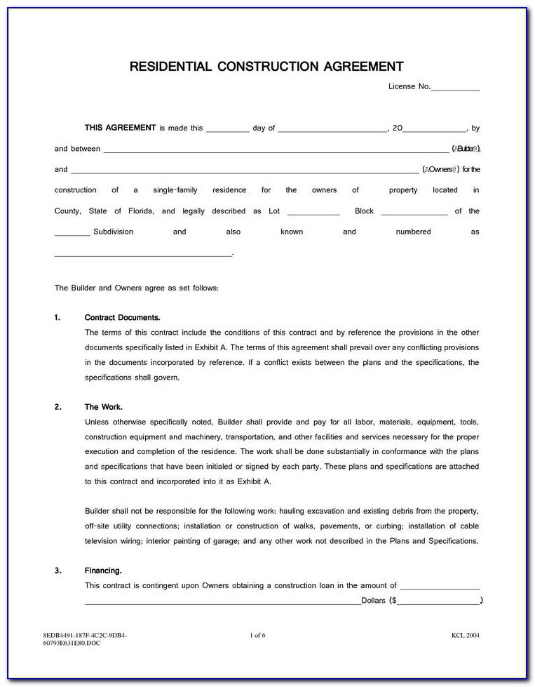 Standard Form Building Contract Example
