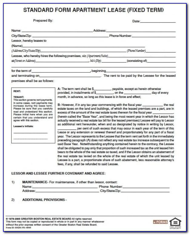 Standard Form Commercial Lease Massachusetts