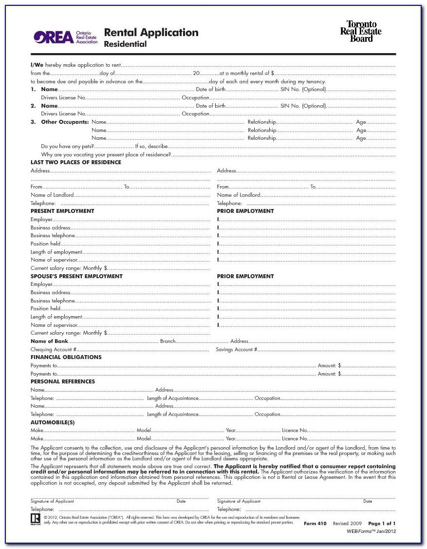 Standard Lease Application Form Ontario