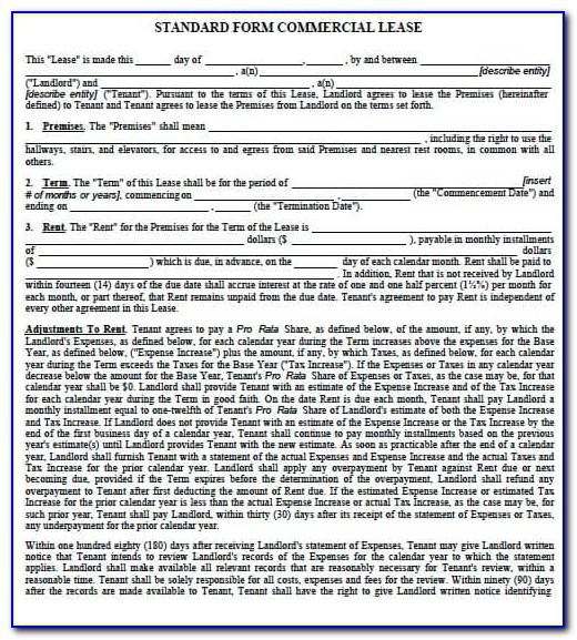 Standard Lease Form Florida
