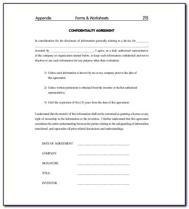 Standard Non Disclosure Agreement Template Uk
