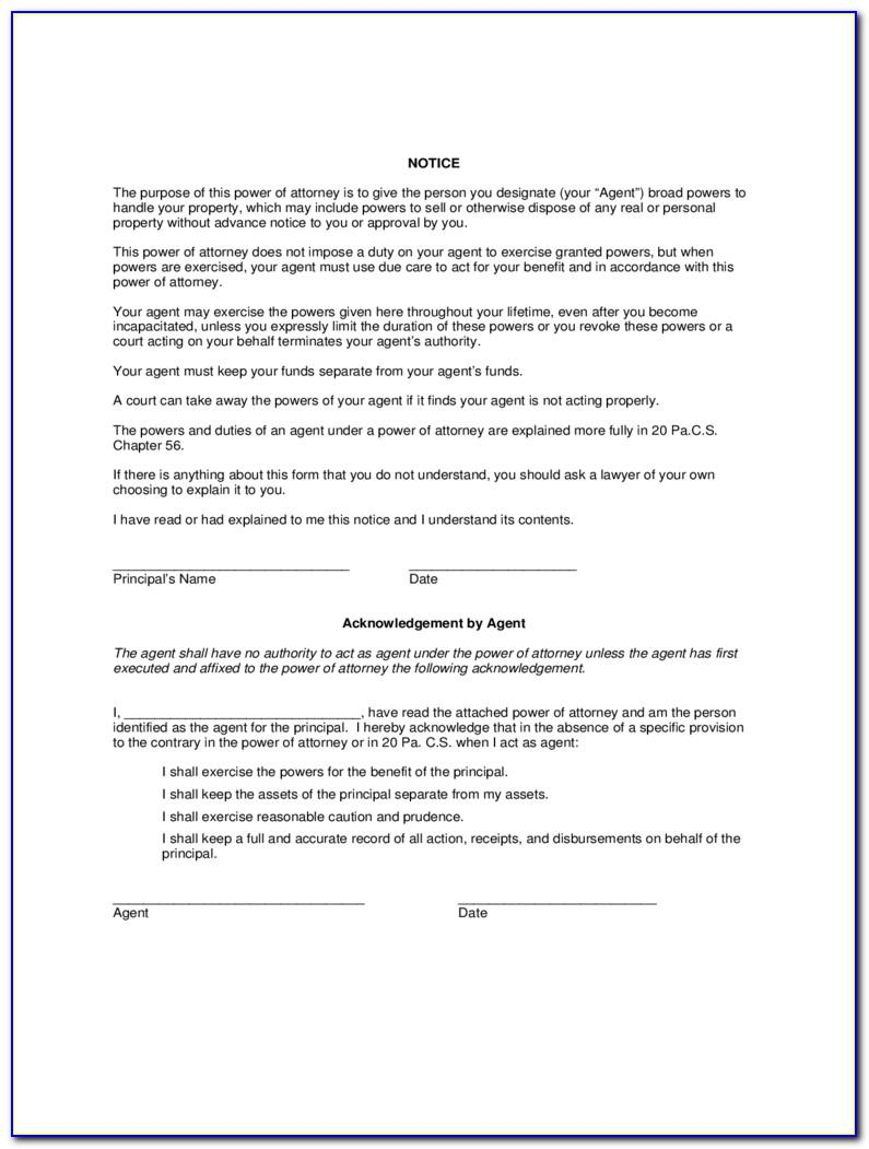 Standard Power Of Attorney Form Ohio
