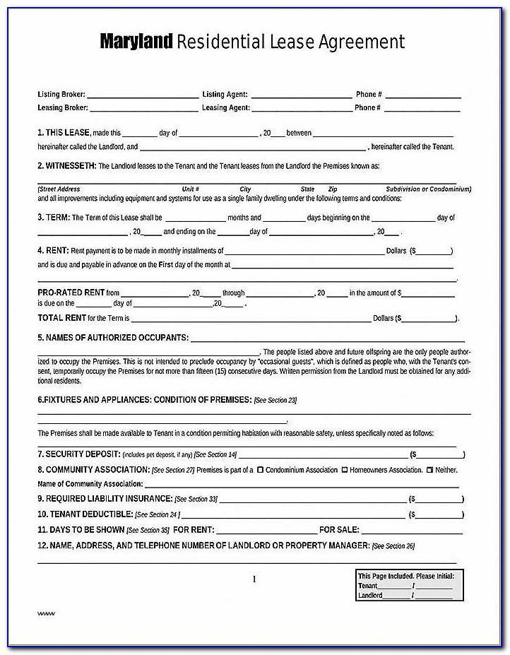Standard Rental Agreement Form Bc