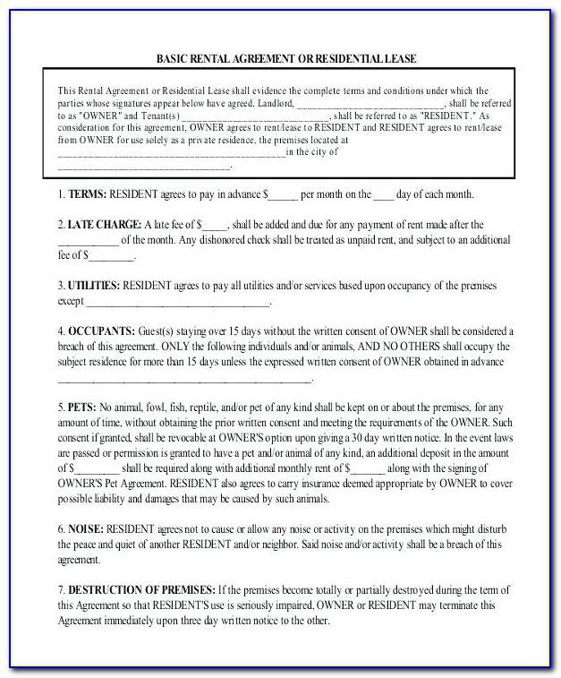 Standard Rental Agreement Form Florida