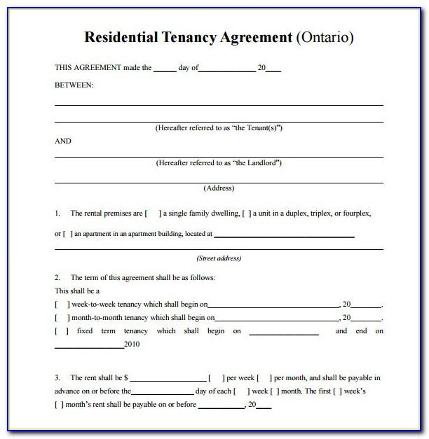Standard Rental Agreement Form Texas