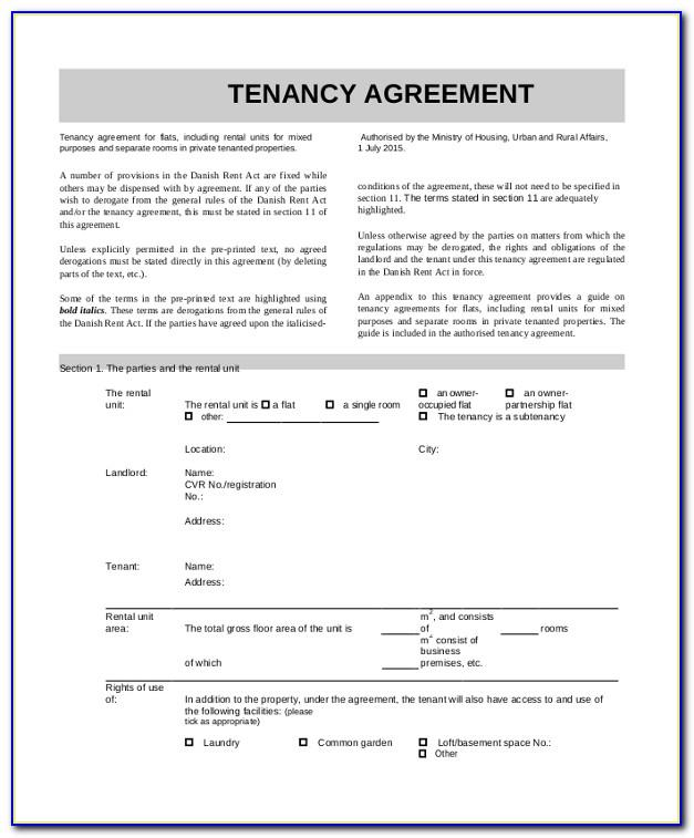 Standard Rental Contract Template